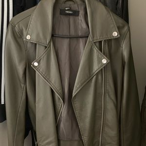 Olive Green Faux Leather Jacket w/ silver hardware